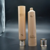 Empty 200ml  Gold Cosmetic Body Lotion Plastic Soft Tube With Gold Screw Cap